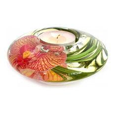 T-Light Candle Holder, Pink and Yellow Spotted Phalaenopsis, Disk