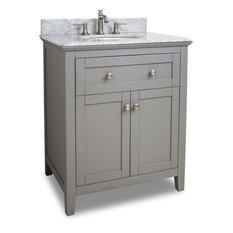 "Grey 30"" Vanity with White Marble Countertop - Chatham Series"