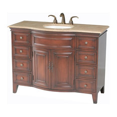1st Avenue   Gresley Single Sink Vanity With Travertine Marble Top, 48u0027u0027
