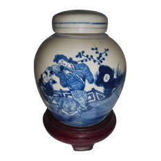 Hand-Painted Blue and White Chinese Porcelain Ginger Jar