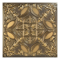 """Golden Prague, Faux Tin Ceiling Tile, Glue up, 24""""x24"""", #218, Antique Gold"""