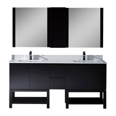 "Monaco 72"" Double Vanity Set With Mirror and Wall Cabinet, Espresso"