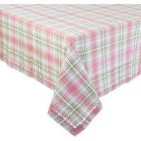 Spring Tartan Plaid Hemstitched Woven Tablecloth, Pink, 55x55