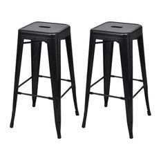 VidaXL Bar Chairs, Black, Square, Set of 2