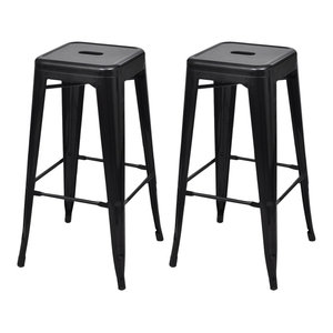 VidaXL Bar Chairs, Black, Square, Set of 2