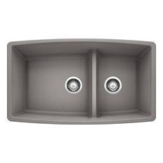 "Blanco 441309 19""x33"" Granite Double Undermount Kitchen Sink, Metallic Gray"