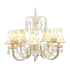 5-Arm Ivory Waterfall Chandelier With Daisy Pearl Shades