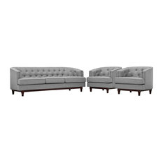Upholstered Fabric Tufted Living Room Set Of Sofa And 2 Armchair Light Gray