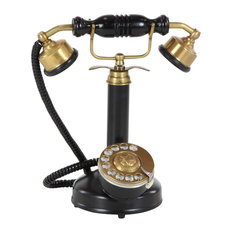 Midcentury Iron and Kail Wood Vintage Phone Sculpture