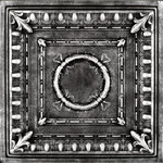 """Decorative Ceiling Tiles - 20""""x20"""" Romanesque Wreath, Styrofoam Ceiling Tile, Black Silver - The classic look of our R 47 Romanesque Wreath styrofoam decorative ceiling tiles adds a look of strength, stability, and beauty to any room in which these tiles are installed. The ancient Romans appreciated beauty wherever they found it, and they would be sure to find it in a room decorated with these stately tiles. The perfectly round central wreath is nestled within a set of equally perfectly symmetrical decorative squares, one created with solid lines, and the other created with a floral design. No matter where it is installed, the R 47 Romanesque Wreath styrofoam decorative ceiling tile is sure to become a classic."""
