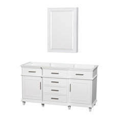 "Single Vanity, White, No Countertop, No Sink, 24"" Medicine Cabinet, 59"""