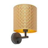 Modern Wall Lamp Dark Grey with Shade 20/20/20 Embossed Gold