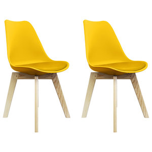 Scandi Wood X Dining Chair, Yellow, Set of 2