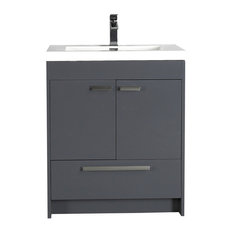 Eviva Lugano 24 inch Gray Modern Bathroom Vanity with White Integrated Top