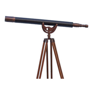 Floor Standing Antique Copper With Leather Anchormaster Telescope 65''