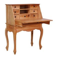 "vidaXL Solid Mahogany Wood Secretary Desk Drawers 30.7"" Office Workstation"