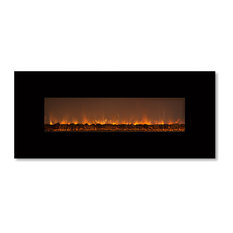 "Ambiance Linear Delux 2 Fireplace, 100"", Black, Standard Flames"