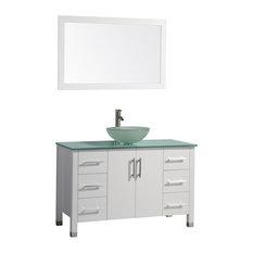 "Cuba Single Sink Bathroom Vanity Set, White, 48"""