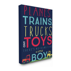 "Stupell Industries - Planes, Trains, Trucks and Toys Oversized Canvas, 24""x1.5""x30"" - Kids Wall Decor"