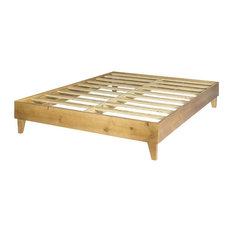Solid Wood Mid-Century Platform Bed, Almond, Queen