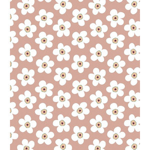 Lola Small Big Flower Rosewood PVC Tablecloth, 140x200 Cm