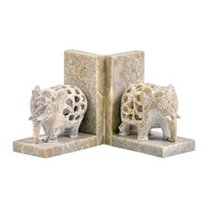 Soapstone Hand Carved Elephant Bookends