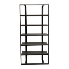Rustic Teak And Iron Tall Bookcase