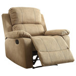 ACME Furniture - Bina Charcoal Polished Microfiber Recliner, Brown - Incorporate style and comfort into your home with the Bina Recliner. This piece is ideal for placement in a cozy living room. With its stitching detail and padding, it gives you a suitable place to relax. It includes a simple side lever to recline back. Features: