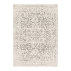 "Harput Traditional Black and Light Gray Area Rug, 5'3""x7'3"""