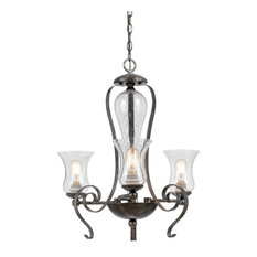 60W Metal 3 Light Chandelier, Eternity Finish, Clear