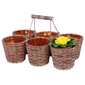 Woven Iron Planter With 6 Glass Vases