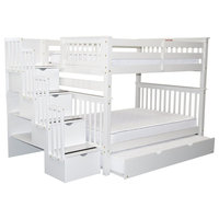 Bedz King Bunk Beds Full over Full Stairway, 4 Steps and Twin Trundle, White