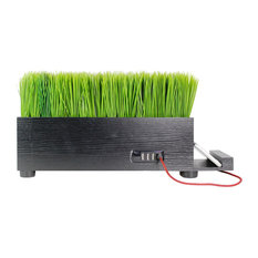 4-Port Usb Black Power Charging Station With Artificial Faux Plastic Green Grass