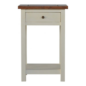 2-Toned Bedside Table With 1-Drawer and 1-Shelf