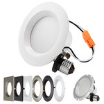 TORCHSTAR - 4 PACK 10W Dimmable Downlight with Interchangable Trim, Soft White - Suitable for different furnishing styles such as contemporary, craftsman, traditional etc. Simple and fuss-free way to DIY both new construction and remodeling. Interchangeable trim design to enhance different ceiling colors. Please check other 5 diverse trims in description
