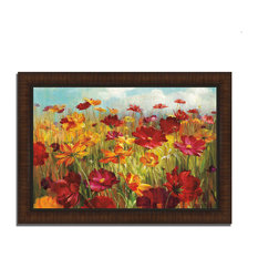 """""""Cosmos In The Field"""" By Danhui Nai, Framed Painting Print, Ready To Hang"""