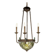 "Meyda 22"" Lotus Bud 3-Arm Inverted Chandelier"
