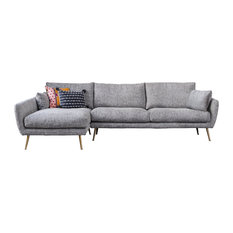 Harlow Mid-Century Modern Sectional Sofa, Left Facing Chaise