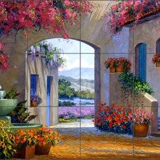 Artwork On Tile - Ceramic Tile Mural Backsplash Senkarik Courtyard Landscape - Tile Murals