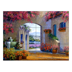 Ceramic Tile Mural Backsplash Senkarik Courtyard Landscape