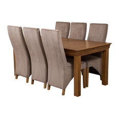 French Chateau Oak Dining Table With 6 Lola Chairs, 180 cm, Grey Velvet Effect