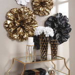 """Sagebrook Home - Flower Wall Plaque, Black/Gold, 16.25"""" - Sagebrook Home has been formed from a love of design, a commitment to service and a dedication to quality. We create and import fashion forward items in the most popular design styles."""