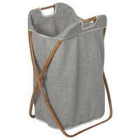 MV Bamboo With Canvas Foldable Hamper Laundry Basket With Carry Handles