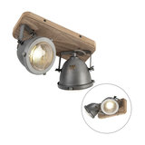 Sturdy Spotlight 2 Scorched Steel with Wood Base - Emado