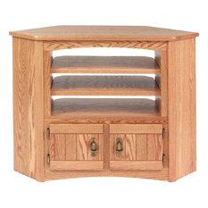 The Oak Furniture Shop   Solid Oak Mission Style Corner TV Cabinet, Golden  Oak