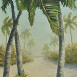"Alan Zawacki Fine Art - Original Tropical Beach Landscape Painting with Palm Trees (Hazy Beach Day) - ""Hazy Beach Day is an original 36""x24"" acrylic tropical landscape painting on gallery wrap canvas. This mystical painting portrays a hazy day as you walk down the palm-lined path that leads to the beach and turquoise ocean. The haze has not yet lifted as the sun begins to break through to warm the day. It is painted around the edges to create a continuation of the image on all sides. It is signed by me, the artist, and ready to hang as the perfect tropical focal point of your room."