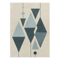Well Woven Mystic Scarlett Mid-Century Modern Vintage Geometric Blue Area Rug