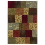 """Newcastle Home - Harrison Geometric Green and Red Rug, 1'10""""x3'3"""" - Affordable elegance at its best, Harrison pairs sophisticated, traditional to casual designs with modern color ways, including true red and pure ivory, as well as organic hues of green, blue, and terra cotta.  Machine woven of heat-set polypropylene, Harrison is rich in style and value."""