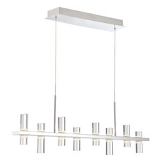 """Netto 41.5"""" 256W 8 LED Linear Chandelier, Chrome, Clear/Frosted Acrylic Glass"""