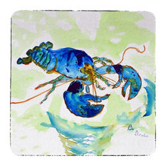 Betsy Drake Green Blue Lobster Coasters, Set of 4